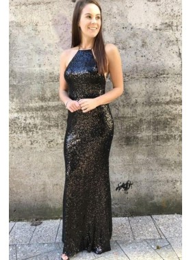 2020 Black Sheath Sequence Lace Up Back Criss Cross Long Prom Dresses