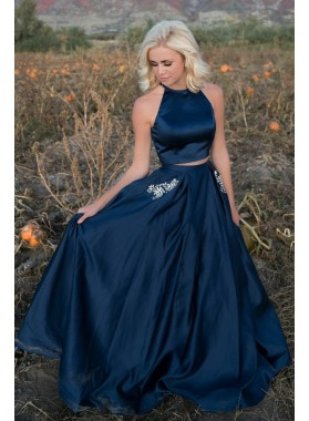 Elegant A Line Satin Dark Navy Two Pieces Long Prom Dresses With Pockets 2020