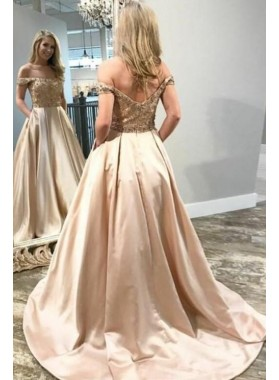 2019 Elegant A Line Satin Off Shoulder Champagne Beaded Long Prom Dresses