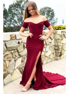 2020 Sexy Burgundy Off Shoulder Side Slit Sheath Sweetheart Long Short Sleeves Prom Dresses