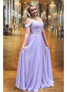 Cheap A Line Lilac Off Shoulder Chiffon Beaded Backless Scoop Prom Dresses 2021