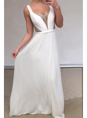 Cheap A Line Chiffon Backless White Sweetheart Bead Prom Dresses 2019