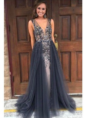 New Designer A Line Gray V Neck Tulle Beaded Backless 2021 Prom Dresses