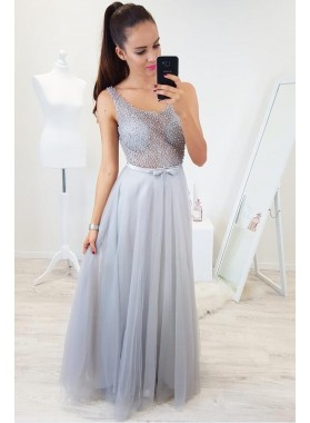 2020 New Arrival A Line Tulle See Through Silver Scoop Prom Dresses With Pearls and Bowknot