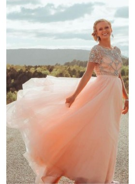 2019 New Arrival A Line Tulle Peach Short Sleeves Beaded Scoop Long Backless Prom Dresses