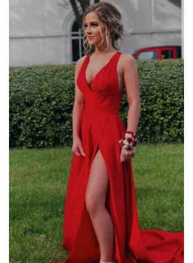 2020 Charming A Line Red Side Slit Long Satin Halter V Neck Criss Cross Back Prom Dresses