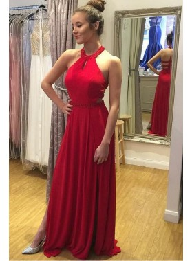 Elegant A Line Red 2020 Halter Backless Side Slit Long Chiffon Prom Dresses