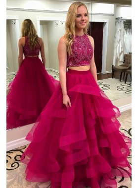 2021 New Arrival A Line Tulle Beaded Tulle Two Pieces Ruffles Fuchsia Prom Dresses