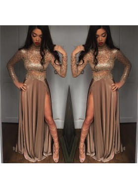 Sexy A Line Elastic Satin Champagne Long Sleeves See Through High Neck Side Slit Long Prom Dresses 2021