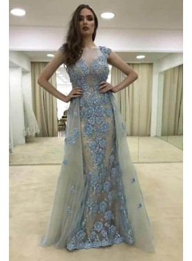 2020 New Designer Sheath Gray Tulle and Blue Appliques Capped Sleeves Prom Dresses