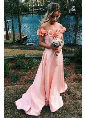 2020 Cheap A Line Satin Pink Off Shoulder Floral Long Prom Dresses