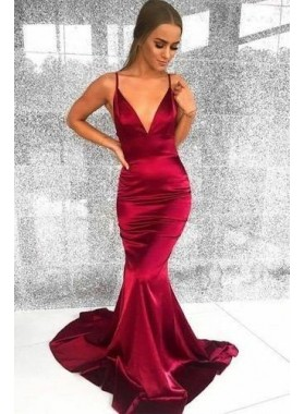 Sexy Burgundy Elastic Satin Mermaid V Neck Backess Prom Dresses 2021