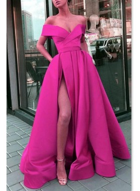 Hot Sale 2021 A Line Satin Side Slit Off Shoulder Sweetheart Fuchsia Prom Dresses