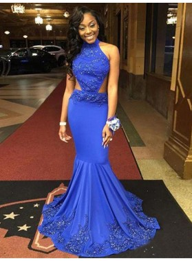 New Arrival Mermaid Royal Blue High Neck Backless African American Prom Dresses 2021