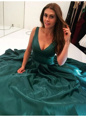 2019 Elegant A Line V Neck Elastic Satin Teal Long Prom Dresses