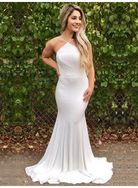2021 Sexy Mermaid White Halter Backless Long Cheap Prom Dresses