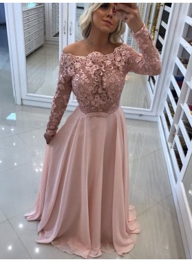 2021 Elegant A Line Long Sleeves Chiffon Blushing Pink Backless Lace Prom Dresses