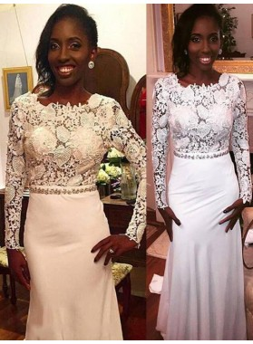 White Long Sleeves Sheath Lace Backless African American Long 2021 Prom Dresses
