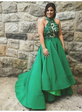 2019 New Arrival A Line Emerald Halter Backless Long Lace Plus Size Prom Dresses