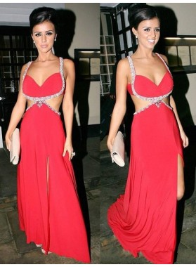 Charming A Line Red Backless Beaded Sweetheart Side Slit Prom Dresses 2021