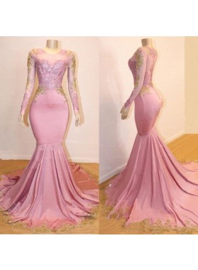 Mermaid Long Sleeves Blushing Pink Sweetheart African American Long Prom Dresses 2021