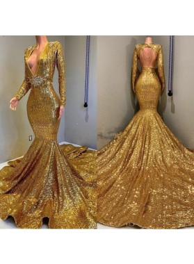 2020 Sexy Mermaid Gold V Neck Backless Long Sleeves Sequence African American Prom Dresses