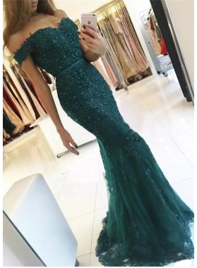 2019 New Arrival Dark Green Off Shoulder Short Sleeves Sweetheart Tulle Mermaid Appliques Prom Dresses
