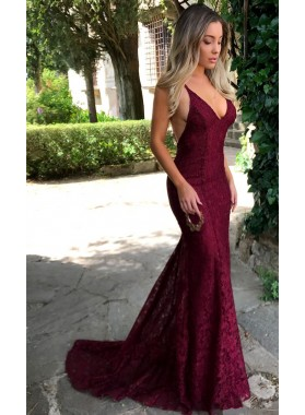 Sexy Burgundy Mermaid V Neck Backless Lace Prom Dresses 2020