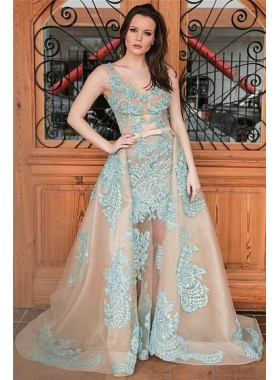 New Designer A Line Champagne and Blue Appliques Tulle Scoop Prom Dresses With Bowknot 2019