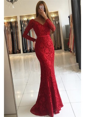 Amazing Mermaid Red V Neck Long Sleeves Lace Backless 2021 Prom Dresses