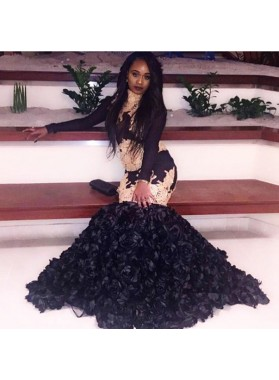2020 Black and Gold Appliques Mermaid High Neck Ruffles Pleated African American Prom Dresses