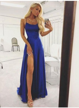 2020 Newly A Line Side Slit Royal Blue Halter Backless Prom Dresses