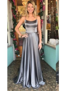 2019 Cheap A Line Elastic Satin Halter Lace Up Back Gray Long Prom Dresses