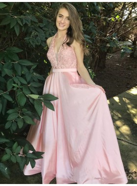 2021 Elegant A Line V Neck Halter Satin Pink With Appliques Backless Prom Dresses
