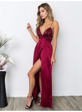 Sexy A Line Side Slit Burgundy Elastic Satin Criss Cross Backless Sequence Prom Dresses 2021