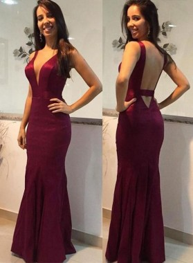 Charming Sheath Deep V Neck Burgundy Backless 2021 Prom Dresses
