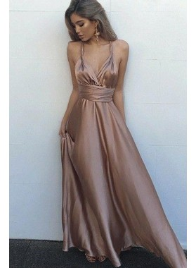 Cheap Sweetheart Elastic Satin Rose Gold Lace Up Halter A Line 2019 Backless Prom Dresses