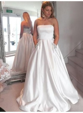 2020 New Arrival Satin A Line Strapless Beaded Long White Prom Dresses With Pockets