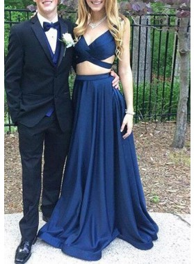 2021 Cheap A Line Dark Navy Satin Sweetheart Two Pieces Long Prom Dresses