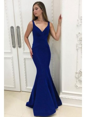 Charming Mermaid Royal Blue Spandex Sweetheart Lace Up Back Prom Dresses 2021