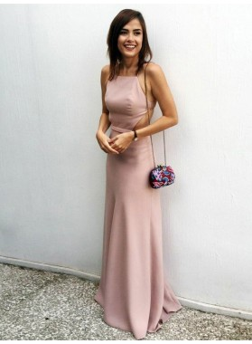 New Designer Sheath Satin Halter Backless Pearl Pink Backless 2021 Prom Dresses
