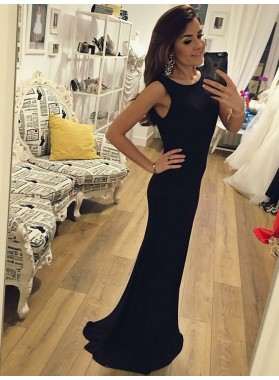 2020 New Arrival Black Sheath Backless Long Scoop Prom Dresses