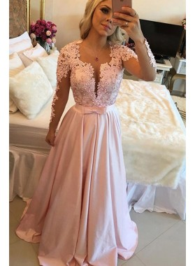 2020 Elegant A Line Pink Satin Long Sleeves Bowknot Backless Prom Dresses