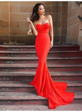 2020 Sexy Sweetheart Mermaid Red Long Cheap Backless Prom Dresses