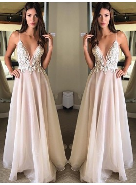 Cheap A Line Chiffon Pearl Pink Deep V Neck Backless Appliques 2020 Prom Dresses