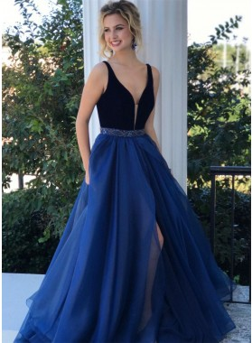 2020 Charming A Line V Neck Chiffon Side Slit Beaded Long Royal Blue and Black Prom Dresses