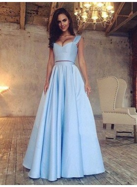 Elegant A Line Satin Blue Sweetheart Two Pieces Long Prom Dresses 2021