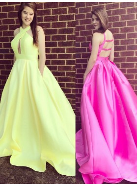 2021 Charming A Line Halter Hollow Out Backless Light Yellow Long Satin Prom Dresses