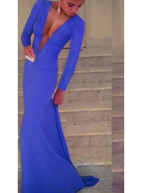 Charming Sheath Deep V Neck Long Sleeves Cheap Royal Blue Prom Dresses 2021