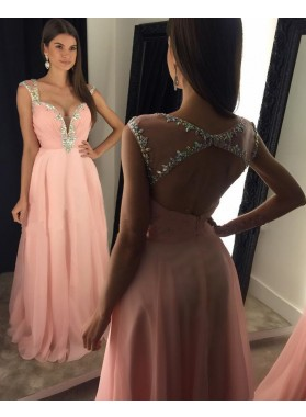 2021 Cheap A Line Chiffon Pink Sweetheart Beaded Backless Prom Dresses With Straps